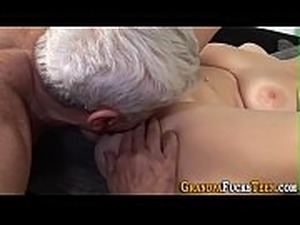 Teen eaten out by old guy