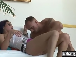 tiny tits shemale gets her juicy asshole rammed on sofa