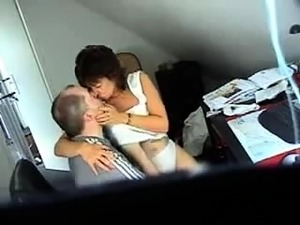 Horny mature lovers get rid of their clothes on hidden cam