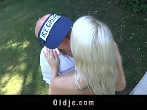 Hot tempered old man fucks beautiful young blonde in the garden