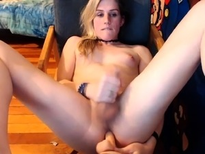 Adorable blonde shemale fucks her hungry ass and jerks off