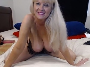 This granny is one buxom webcam whore and she loves riding her dildo