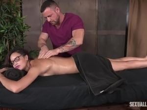 Oiled Eden Sin gets fixed with belts and brutally fucked from behind