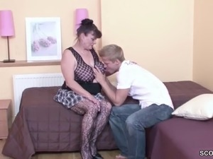 Virgin Young Guy Seduce Granny to Fuck for First Time