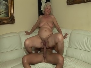 The first time he fucks a hot granny!