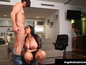 Hot BBW Angelina Castro Shares BF's Cock With Roberta Gemma!