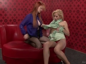 Terrific lesbian pornstars in nylon pantyhose with long hair fondling each...