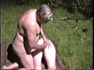 Mature Granny fucks Cuck Husbands friend outside