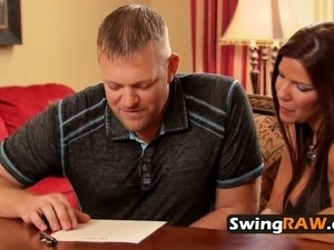 Married couple signs contract and meets other swingers