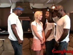 Pervert black dudes fuck naughty hot babe on the couch