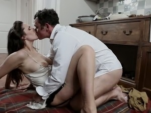 Yummy raven haired housewife fucks with her man on kitchen  floor