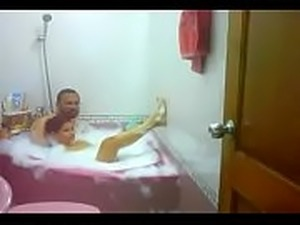 #NaziaPathan Indian arab housewife in bathtub with her lover