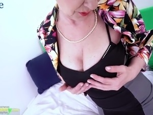 Old short haired lady Milena goes solo and dildo helps her out