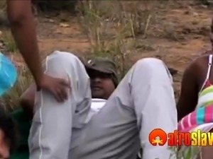 Outdoor African orgy with white guys too