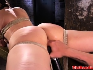 Gagging submissive bound and pussy toyed