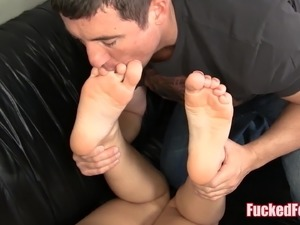 Amateur Talia gives first time footjob for FuckedFeet