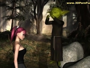 Yoda uses mind tricks to fuck a lone girl in a forest