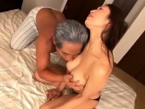 Busty Japanese wife has a horny old man drilling her peach