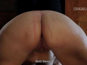 Asshole and pussy whipping for the chubby slave girl
