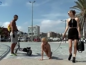 Totally naked whore Mona Wales strolls along the city before being fucked hard
