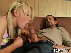 Tiny titted schoolgirl gives wet oral-service and rides dick