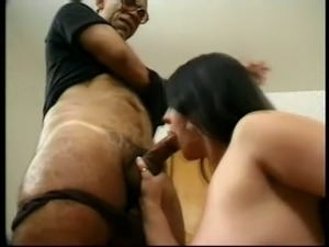 Busty pregnant brunette gets fucked by an elderly man