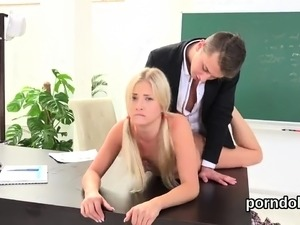 Fervid schoolgirl was tempted and screwed by senior teacher1