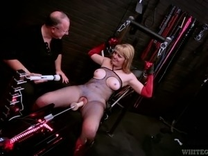Blonde and chubby milf loves BDSM sex with a chubby old man