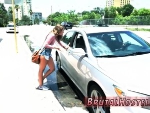 Teen girl gets anal creampie Fed up with waiting for a taxi,