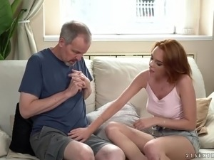 Older man is seduced by charming redhead Candy Red and sucked in 69