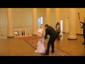 bride falls shows her ass