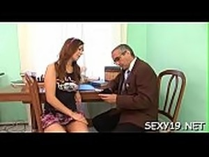 Charming elderly teacher is drilling sweet sweetheart from behind