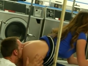 Sexy kinky GF blows juicy penis of her buddy being in public laundry