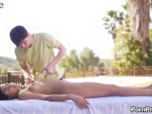 Vivid and well shaped babe Maya Bijou gets her tight pussy drilled by masseur