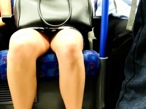 Slender amateur babe with sexy legs voyeur upskirt in public