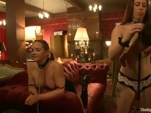 Chained and collared slaves are tasting some big cocks