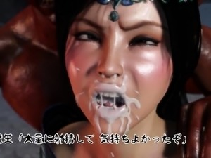 Voluptuous 3D beauty gets drilled rough by hung monsters