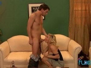 Zealous big breasted blonde MILF spreads legs for cuni and some mish