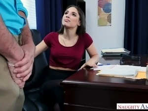 Naughty stunning secretary Abella Danger gets fucked mish on the table