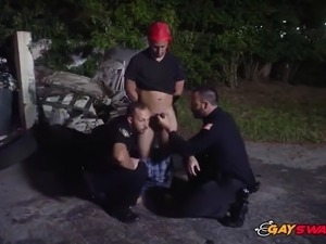 Suspect chase leads these gay officers to get drilled by his big cock