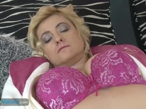 Shy granny blonde mature lady masturbating her shaved pussy