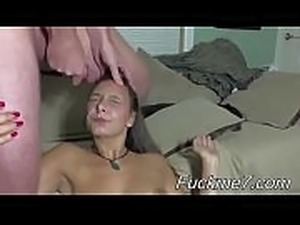 Busted! Britney Swallows handcuffed &amp_ facefucked completely naked in boots