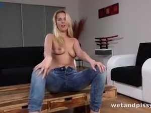 Wet and pissy whorable blonde chick Nasty Dream is eager to pet herself