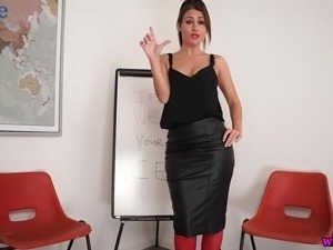 Jess West is alone dark haired nympho who is ready to play with her strapon
