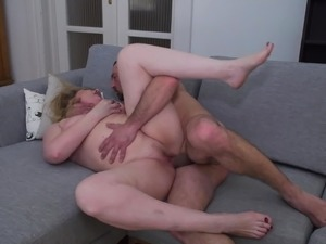 Mother gets foot massage and deep penetration
