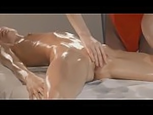 Oil massage and strapon fucking