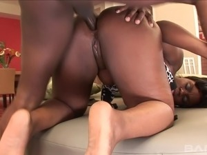 Hot black woman submits her anal for a rough bonking in a close up shoot