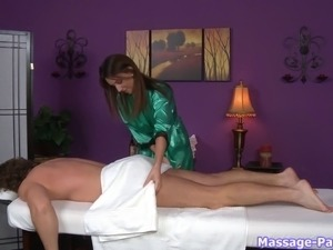 She gets naked during the massage sucks his cock to finish him