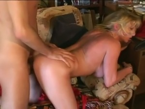 Buxom cougar is screwed bad in a doggy position