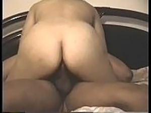 Light skinned redbone girlfriend with huge tits rides and get it doggy style...